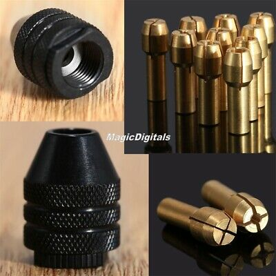 Mini 0.5mm-3.2mm Brass Collet Chuck 4.8mm Shank & M7 Keyless Chuck Rotary Tool