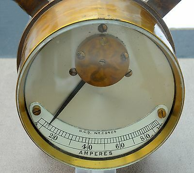 Rare Vintage Early Brass Electrical Ammeter - Superb Condition 19th Century