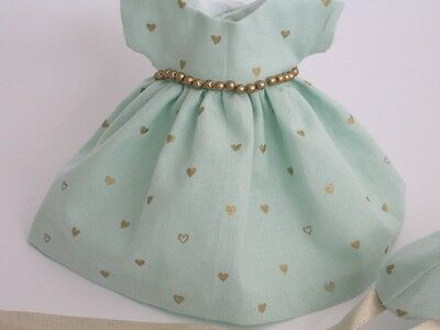 Ginny Doll Clothes, Handmade Mint Cotton, Beaded 'Pamela' Dress & Hat