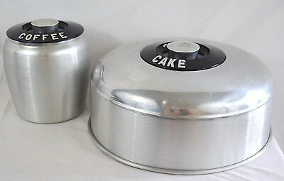 VTG Kromex Cake Dome Coffee Canister Aluminum Kitchen Decor Silver Black Storage