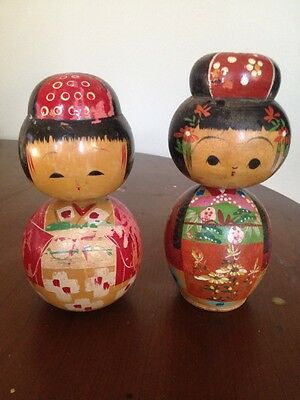 Pair Of Wooden Bobble Head Dolls Made In Japan Vintage