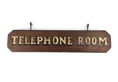 Antique Telephone Room Booth Hand Painted Wood Sign from Saloon or Bar