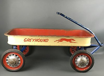 Rare Large Vintage 1950's Greyhound Painted Steel Wagon