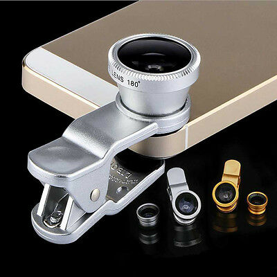 3in1 Wide Angle Fish Eye Macro Clip on Camera Lens Kit Mobile Cell Phone Tablet