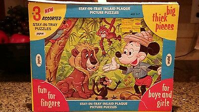 Vintage Disney Stay-in-Tray Inlaid Plaque Mickey & Donald Duck
