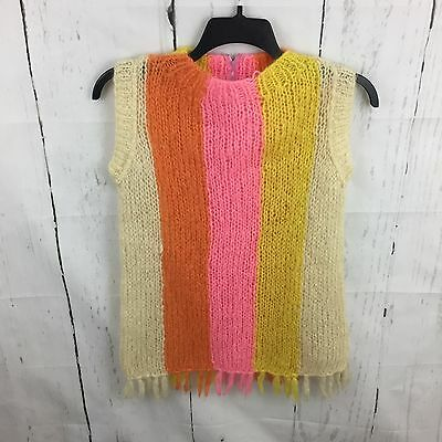 Vintage Sleeveless Sweater M Hand Knitted Italy Pink Orange Yellow Striped Mod