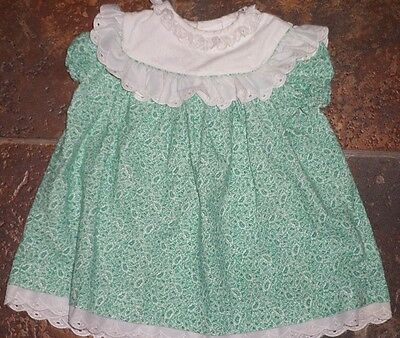 Vintage Toddler Green Floral Leaf Polly Flinders Dress Eyelet Lace Ruffles 24 Mo