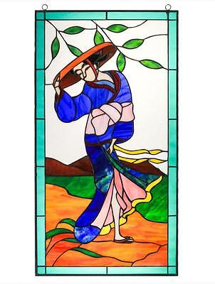 Tiffany Style Stained Glass Window Panel Door Metal Frame Geisha Japanese 28x14""