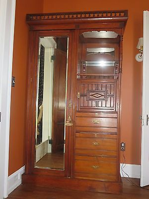 Antique Carved Victorian Eastlake Wardrobe / Armoire