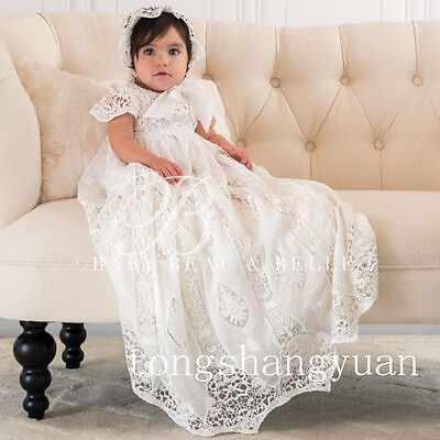 Hot Sell Baby Baptism Dresses Outfits White Ivory With Bonnet Christening Gowns