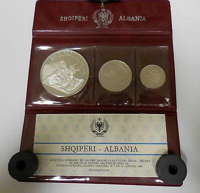 1968 Beautiful & Rare Albania Original Silver Proof 3 Coin Set
