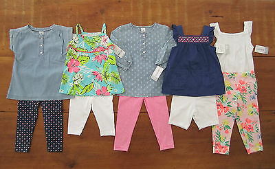 Lot of 5 spring summer girls outfits Carter's tunic leggings capri NWT 18 months