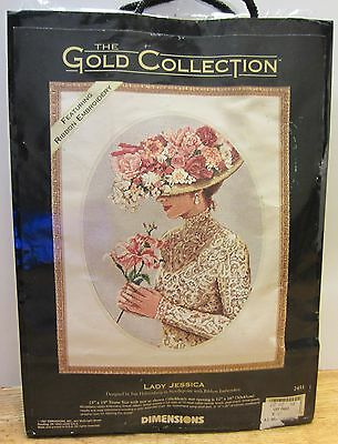 """Vtg Gold Collection Lady Jessica Needlepoint w Ribbon Embroidery 15"""" x 19"""" New"""
