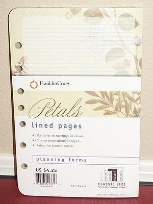 *NEW* Franklin Covey Classic Size Lined Pages 5.5 x 8.5 Petals Design