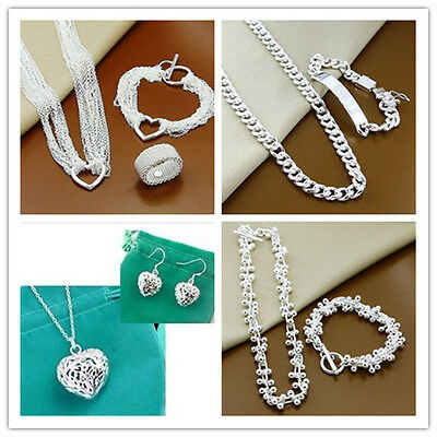 New Silver Necklace Earring Ring Bracelet Set Solid 925 Sterling  Jewellery