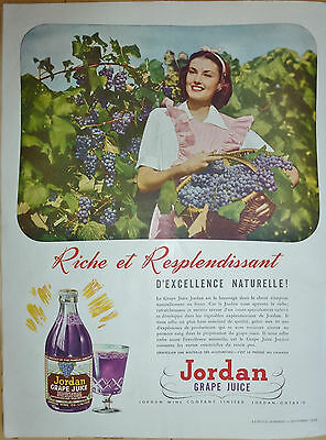 Jordan Grape Juice & Grape Picking 1945 Ad Publicity in French Canada Quebec