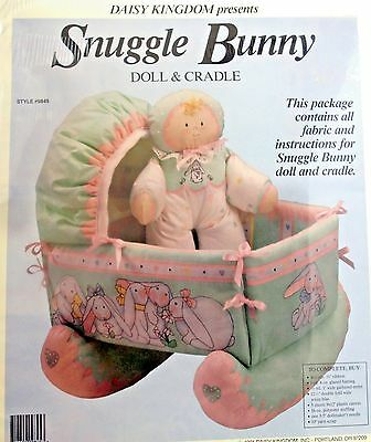 Daisy Kingdom Snuggle Bunny Doll & Cradle Fabric Sewing Panel Style #9845 NEW