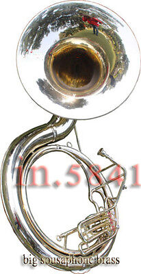 "CHRISTMAS GIFT SOUSAPHONE_25"" VALVE BIG_TUBAMADE_OF/FULL BRASS W/bag""BRASS FIN"