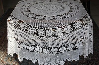 Vintage White Round Crocheted Tablecloth 175cm diameter #220