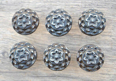 VTG Victorian Floral Cast Iron cabinet drawer door Knobs handles pull rustic