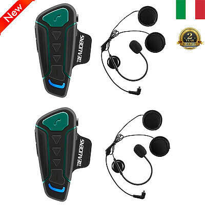 2X Bluetooth Moto Intercom Interfono Motocicletta Auricolari 1200M Impermeabile