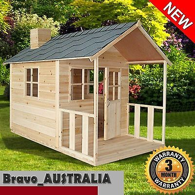 Wooden Cubby House Kids Outdoor Playhouse Fort with Windows and Verandah JS022