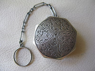 Antique Victorian Art Nouveau STERLING SILVER Chatelaine Pill Box Puff Compact