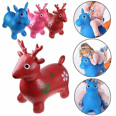 Kids Animal Space Hopper Inflatable Horse Ride-On Bouncy Play Toys Happy Soft Au