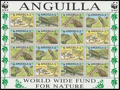 Anguilla WWF West Indian Iguana Sheetlet of 4 sets SG#1004/07 SC#968 a-d