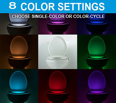 8 Colors Motion Sensor Automatic Seat LED Light Toilet Bathroom Bowl Lamp