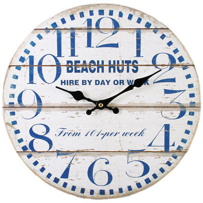 "New Beach Huts Wall Clock Hanging 34Cm 13.4"" Blue On White Design Cl_30822"