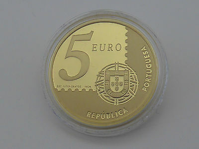5 Euro Portugal 2003,Gold 916/17,50 Gramm,Briefmarke,KM 749b (13695)