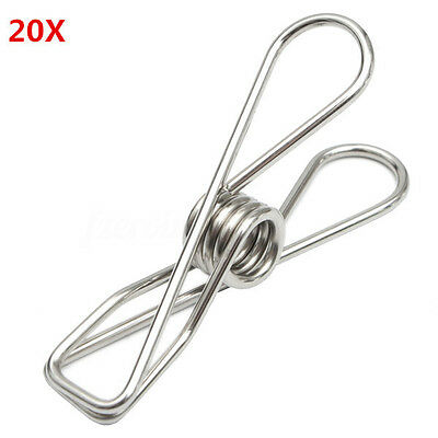 20Pcs Stainless Steel Clothes Pegs Laundry Clips Windproof Clamps Folders Pins