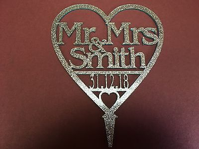 GLITTER PERSONALISED Mr & Mrs Wedding Cake Toppers with DATE Heart Many Colours