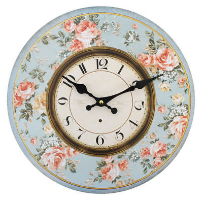 "New Blue Floral Wall Clock Hanging 34Cm 13.4"" Blue With Pink Flowers Cl_42613"