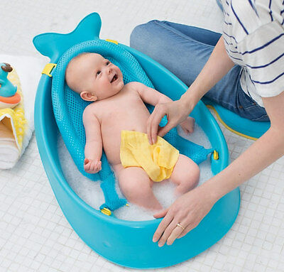 Brand new Skip Hop Moby smart sling 3 Stage baby bath tub in blue from birth