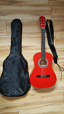 Palma 3/4 Size Guitar in Red with Carry Bag, Strap and Pitch Pipe