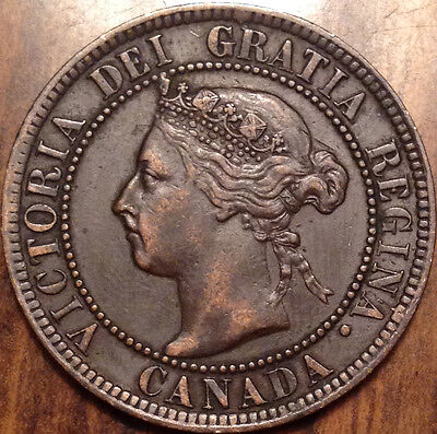 1893 Canada Large 1 Cent In Great Condition Die Crack
