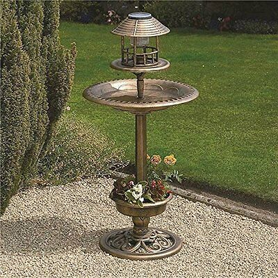 Bronze Bird Feeder & Bath With Solar Light Ornamental Garden Bird Table Station