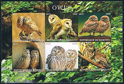 Bloc Sheet Hiboux Owls Neuf MNH IMP ** Djibouti 2015 Private local/issue