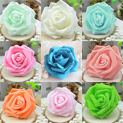 50Colourfast Foam Roses Artificial Flower Wedding Bride Bouquet Party Decor DIY