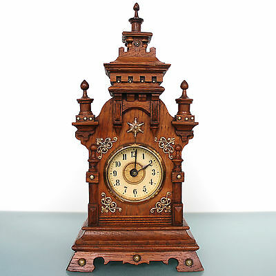 JUNGHANS PFEILKREUZ ALARM Mantel Clock Castle Shaped! 1910s Antique German Shelf