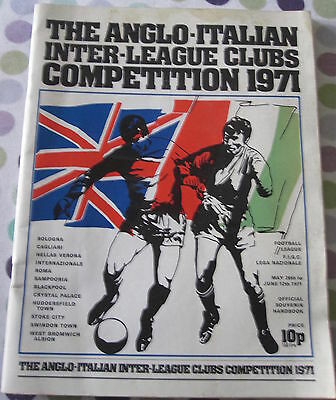 Official Souvenir Handbook The Anglo-Italian Inter-League Clubs Competition 1971