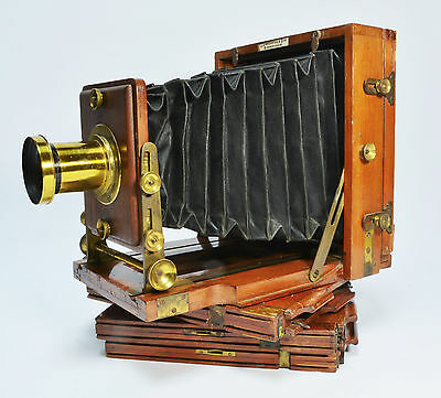 Victorian ½ plate folding field camera, the 'Instantograph' by J Lancaster &Son