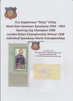 Eric Chitty West Ham Hammers Speedway 1934-1952 Rare Orig Hand Signed Cutting