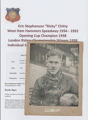 Eric Chitty West Ham Hammers Speedway 1934-1952 Rare Orig Hand Signed Picture