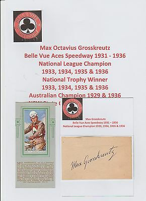Max Grosskreutz Belle Vue Aces Speedway 1931-1936 Rare Orig Hand Signed Cutting