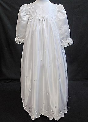 Christening gown dress traditional long baby girl WHITE satin lace 3-6 months