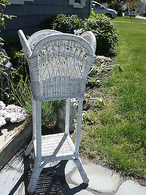 """Vtg Antique White Wicker Plant Fern Stand Basket W/ Wood Beads 32.75"""" Tall"""