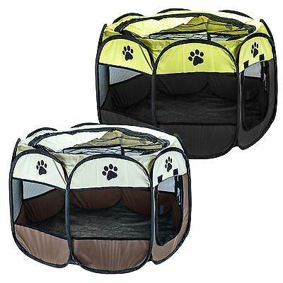 Pet Play Pen Animal Playpen Puppy Dog Rabbit Fun Folding Cage Crate Fabric Fence
